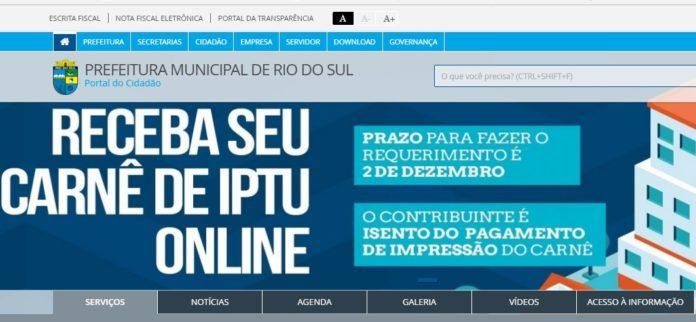 Carnês do IPTU 2020 de Rio do Sul já estão disponíveis no site da prefeitura