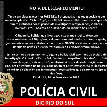 Polícia Civil esclarece fake news sobre envolvidos no caso Ana Beatriz