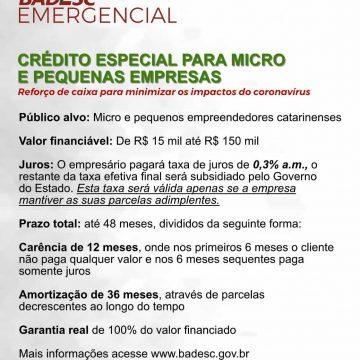 Badesc Emergencial atende micro e pequenas empresas afetadas pelos impactos do coronavírus