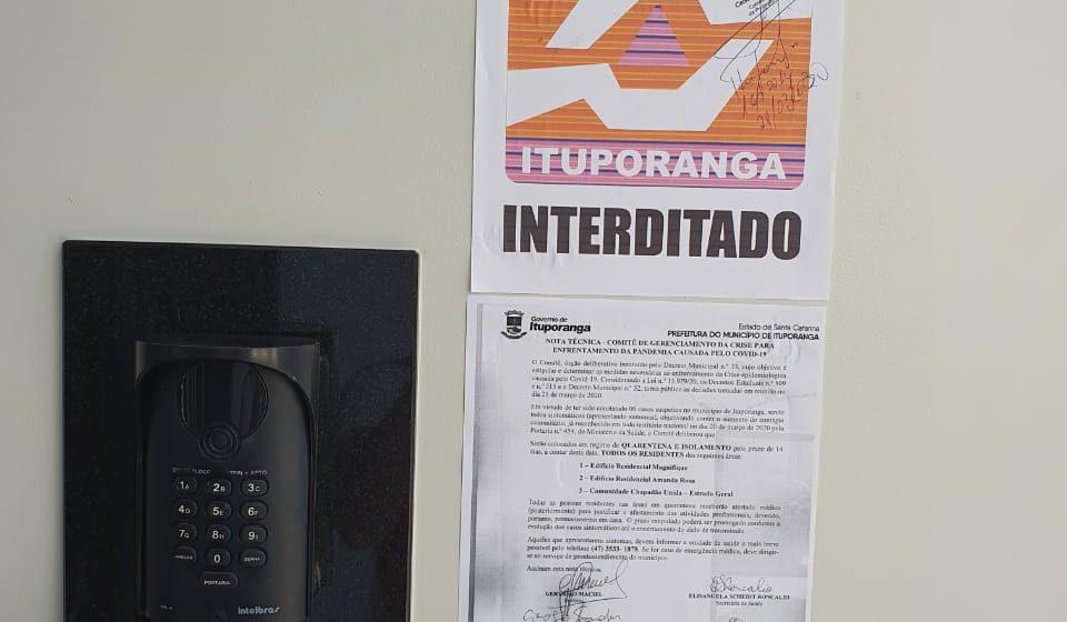 Ituporanga mantém isolamento e quarentena para moradores de dois prédios com casos suspeitos de Covid 19