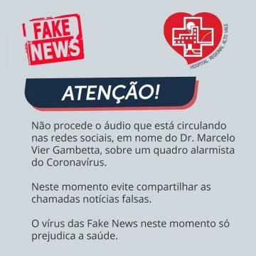 Diretor técnico do Hospital Regional Alto Vale alerta sobre fake news