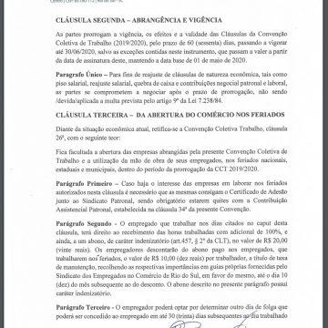 Acordo garante prorrogação da convenção do comércio e abertura no dia primeiro de maio