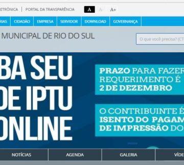 Em Rio do Sul, pagamento da segunda cota única do IPTU encerra nesta segunda-feira