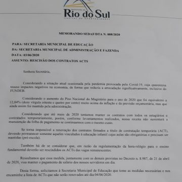 Após dispensa de professores, prefeitura de Rio do Sul explica que com adequações a renovação não era necessária