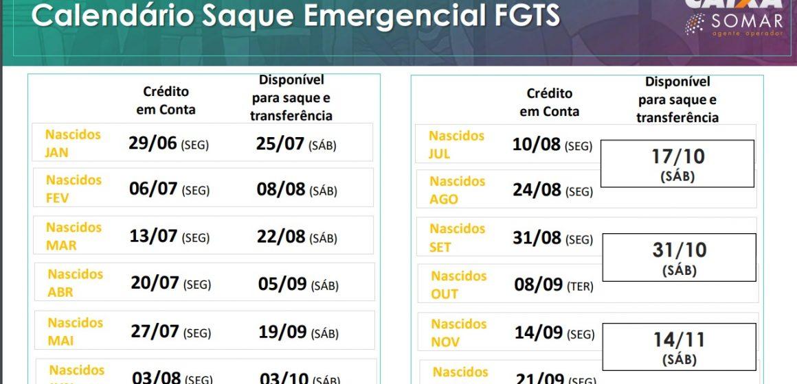 Caixa inicia pagamento do FGTS a partir do dia 29 de junho