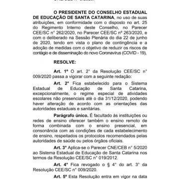 Conselho de Educação abre possibilidade de aulas não presenciais até 31 de dezembro