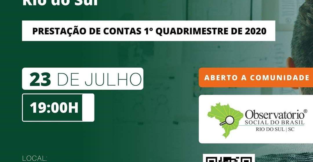 Prestação de contas do observatório social de Rio do Sul será virtual