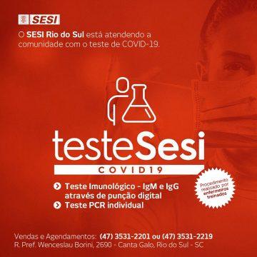 Sesi oferece testagem para identificar contaminação por coronavírus