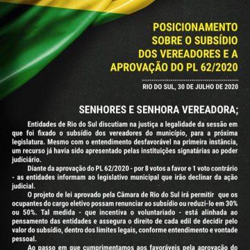 Entidades empresariais de Rio do Sul desistem de recurso por adequação de salários de vereadores