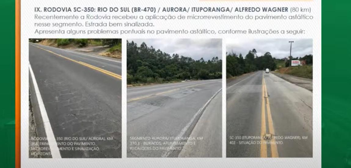 FIESC apresenta situação das rodovias do Alto Vale