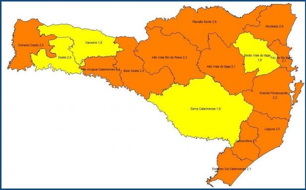 Alto Vale continua classificado como região Grave na Matriz de Risco