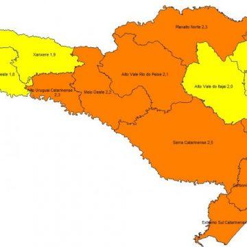 Nova matriz de risco mostra melhora no Alto Vale, que migra para classificação amarela