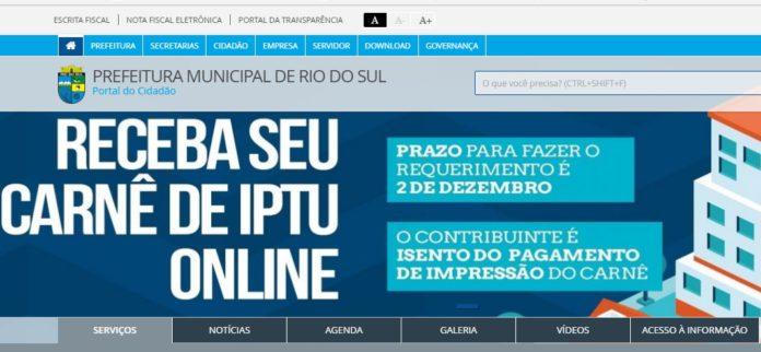 Encerra hoje prazo para solicitação de isenção do IPTU, em Rio do Sul