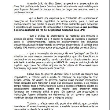 Após acesso ao processo, Amândio Junior se manifesta sobre Operação Pleumon
