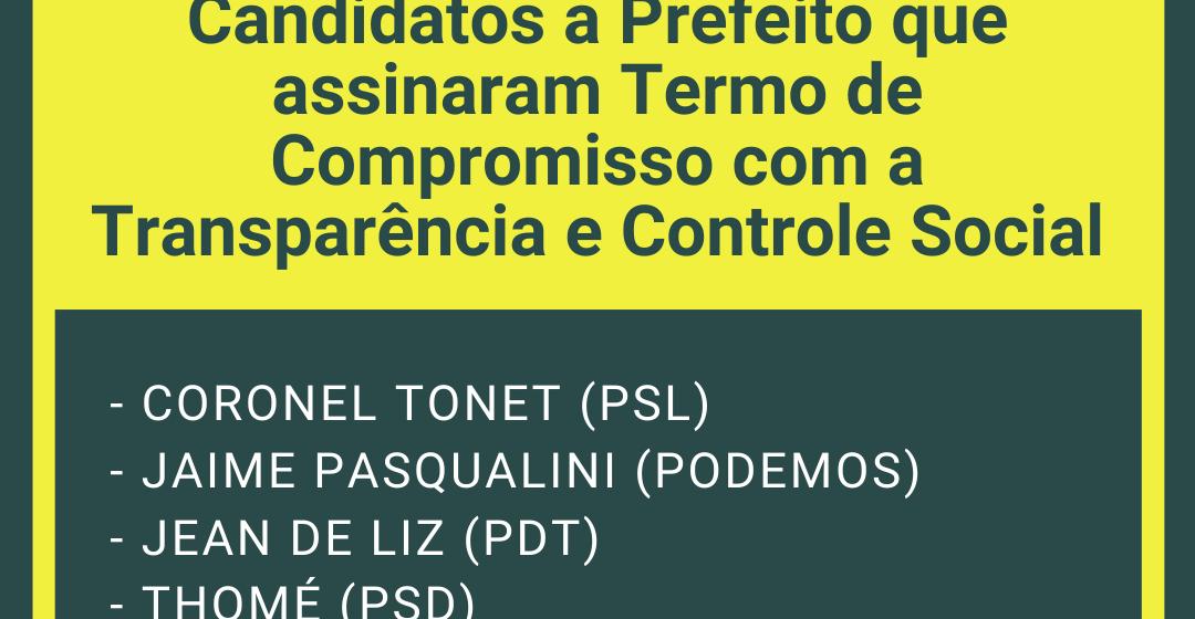 Candidatos de Rio do Sul assinam Termo de Compromisso com Transparência e Controle Social