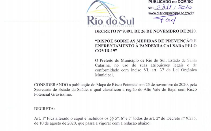 Novo decreto limita fechamento de bares e restaurantes às 23h em Rio do Sul