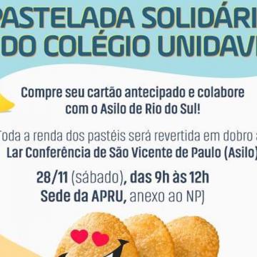 Colégio Unidavi promoverá, no sábado, uma pastelada para beneficiar o Asilo São Vicente