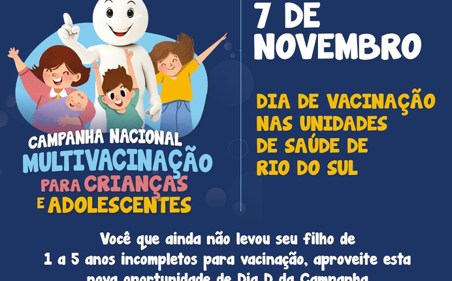 Com baixa cobertura vacinal contra paralisia infantil, Rio do Sul realiza mais um dia D para imunização