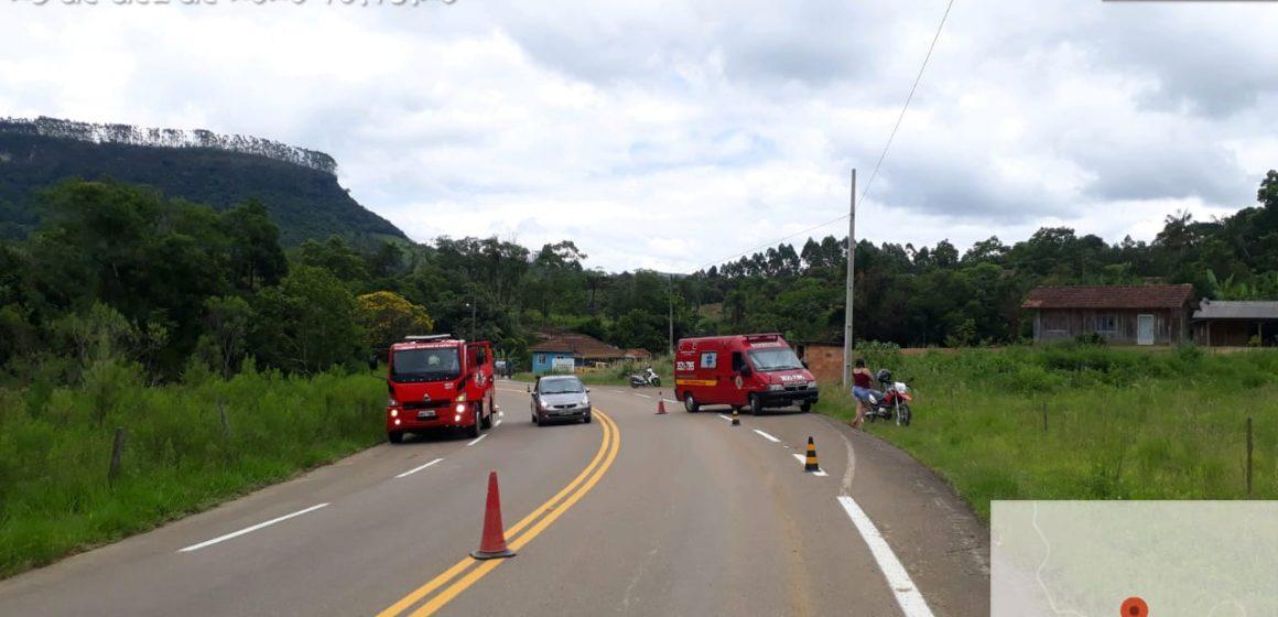 Motociclista fica ferido após colisão com carro, em Lontras