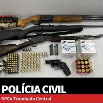 Armas e munições são apreendidas pela Polícia Civil em Trombudo Central