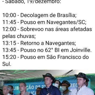 Presidente Jair Bolsonaro deve sobrevoar áreas atingidas no Alto Vale