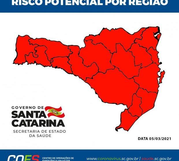 SC tem todas as regiões com risco gravíssimo para coronavírus pela 2ª semana seguida