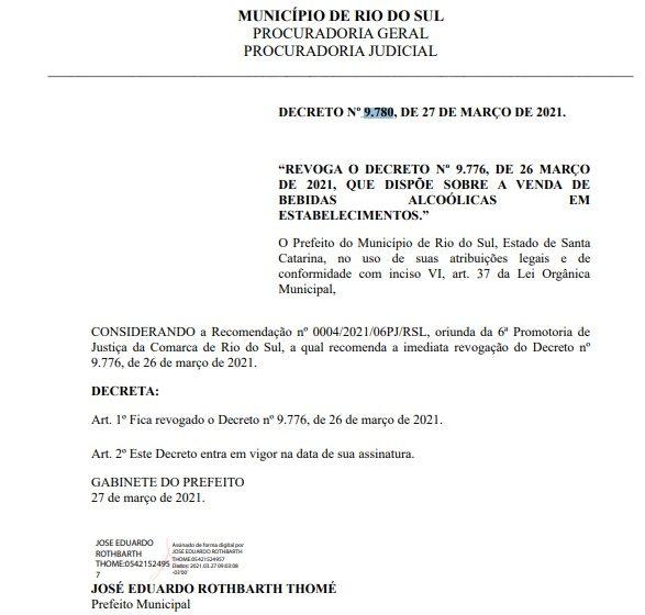 Prefeitura revoga decreto que permitia consumo de bebidas alcóolicas em estabelecimentos até às 22h