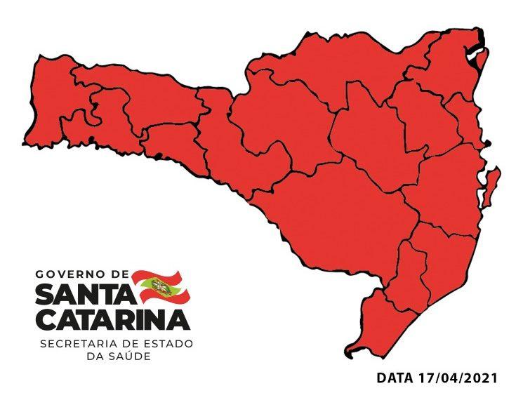 Mapa de classificação mostra todas as regiões de SC em risco gravíssimo para o coronavírus