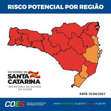 SC tem 12 das 16 regiões em nível gravíssimo