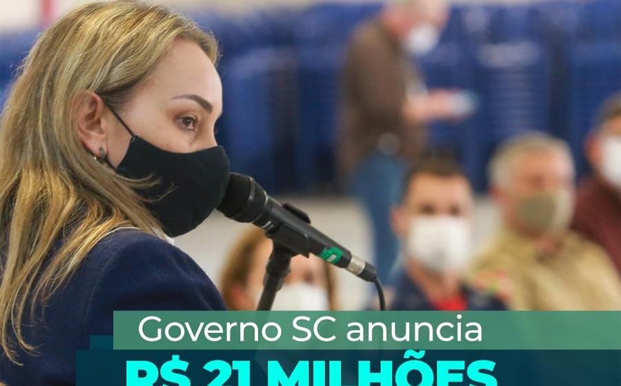 Governadora de SC anuncia investimento de R$ 21 milhões para a região