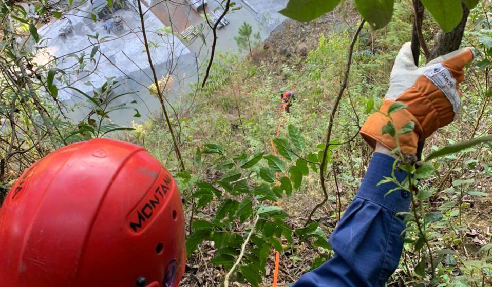 Bombeiros resgatam cachorro que caiu em ribanceira de Trombudo Central
