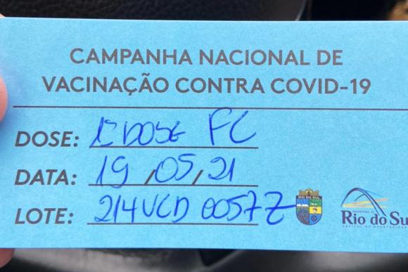 Amplia para 1800 o número de doses que serão aplicadas, neste sábado, em vacinação contra Covid-19, em Rio do Sul