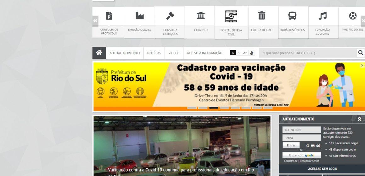 Aberto agendamento para vacinação contra Covid em pessoas acima de 58 anos em Rio do Sul