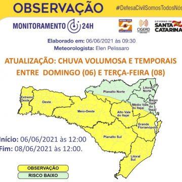 Defesa Civil emite alerta para chuvas fortes neste domingo