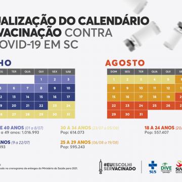 SC tem atualização no calendário para vacinação contra Covid, por idade