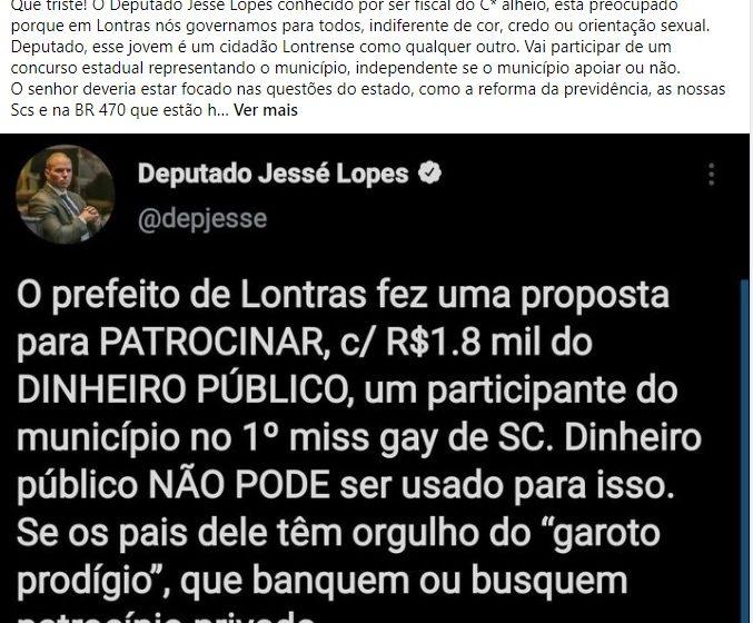 Deputado critica prefeito de Lontras por aplicação de recurso em concurso de miss e ele rebate chamando o parlamentar de homofóbico