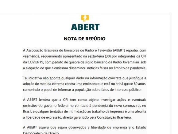 Após CPI da Covid pedir quebra de sigilo da Jovem Pan, Abert emite nota de repúdio