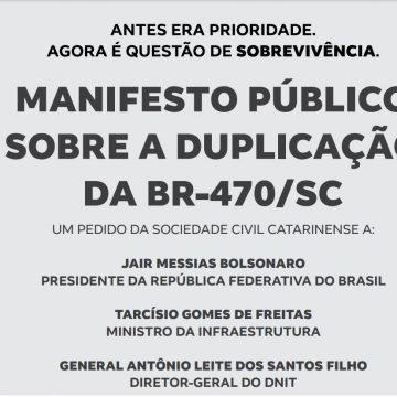 Manifesto assinado por mais de 120 entidades defende utilização dos recursos do governo do estado nos lotes 1 e 2 da BR-470