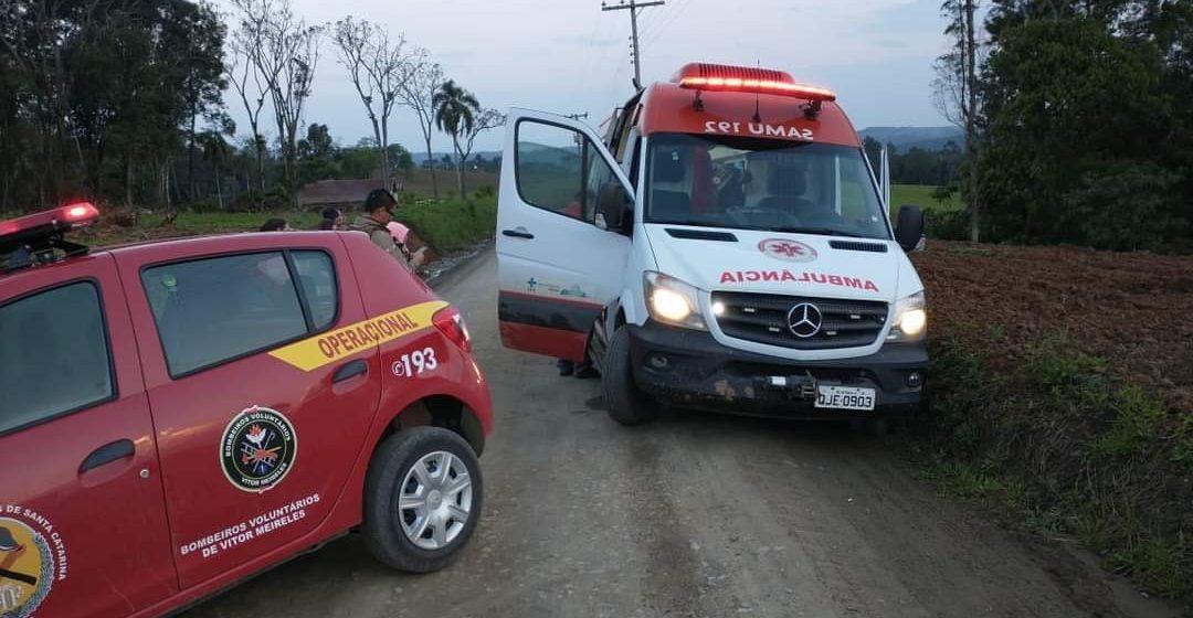 Homem fica ferido após atropelamento em Vitor Meireles