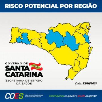 SC inicia terceira semana consecutiva sem regiões nos índices gravíssimo ou grave para coronavírus