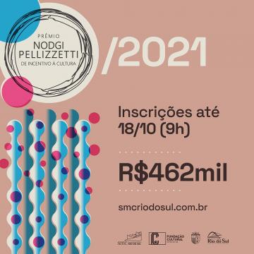 Inscrições do Prêmio Nodgi Pellizzetti de incentivo a cultura encerram dia 18 de outubro